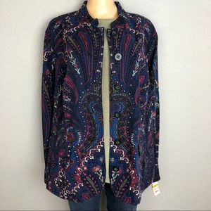 Charter Club Woman Floral Paisley Jacket Navy Blue